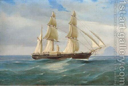A British naval paddle sloop off Stromboli by de Simone Tommaso - Reproduction Oil Painting