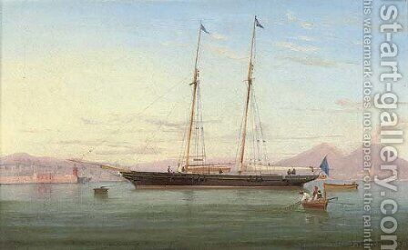 A British racing schooner lying off Naples by de Simone Tommaso - Reproduction Oil Painting