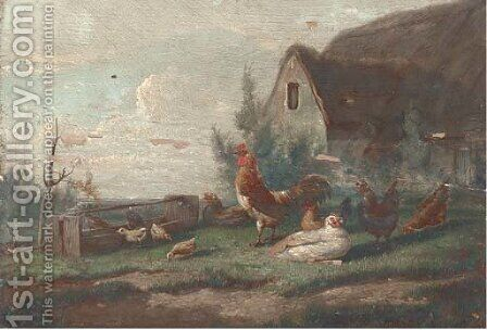 Chickens in a farmyard by Cornelis van Leemputten - Reproduction Oil Painting