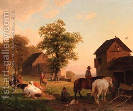 Farmyard with peasants and cattle by Jacobus Nicolaas Tjarda Van Stachouwer - Reproduction Oil Painting