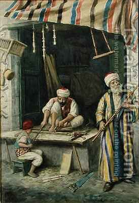 Arab Carpenters by Achille Buzzi - Reproduction Oil Painting