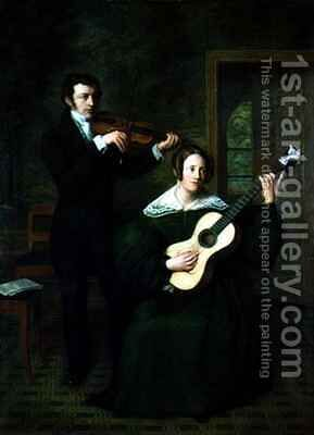 The Duet by Cornelis Bernudes Buys - Reproduction Oil Painting