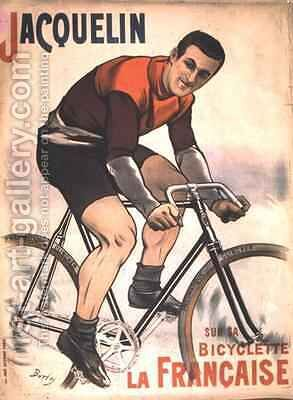 Poster advertising Edmond Jacquelin (1875-1928) on cycle 'La Francaise' by Burty - Reproduction Oil Painting
