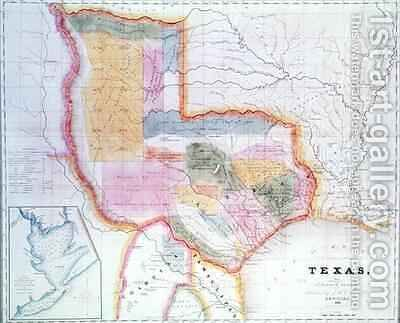 Map of the state of Texas by David Burr - Reproduction Oil Painting