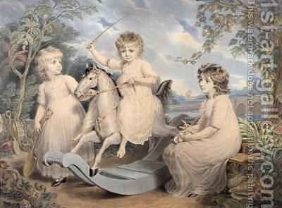 Portrait Group of three Children, possibly Sophie, Charles and Frances Burney by Edward Francis Burney - Reproduction Oil Painting