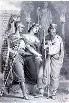Warrior accompanied by a woman addressing a Priest in the Precincts of a Temple by Edward Francis Burney - Reproduction Oil Painting