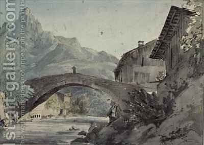 Bridge at Sallanches and the Aiguille de Varens by Henry William Burgess - Reproduction Oil Painting