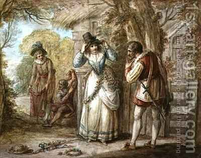 Florizel and Autolycus changing Garments by Henry William Bunbury - Reproduction Oil Painting