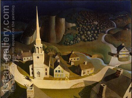The Midnight Ride of Paul Revere 2 by Grant Wood - Reproduction Oil Painting