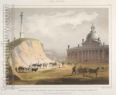 Old Boston Plate V Beacon Hill from the present site of the Reservoir by (after) Bufford, John Henry - Reproduction Oil Painting