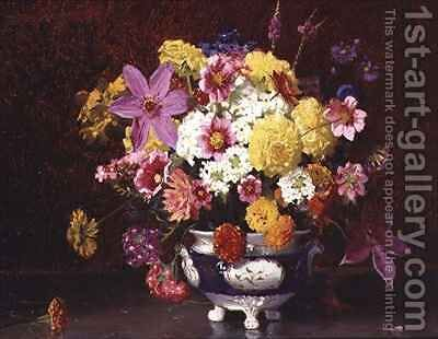 Still Life with Lilacs and Chrysanthemums by Arthur Herbert Buckland - Reproduction Oil Painting