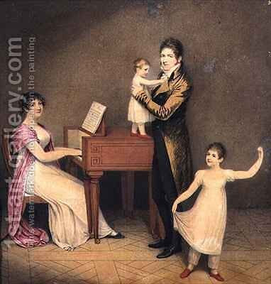 Charles Moran and his wife Jane Bodin with Jane and William by Adam Buck - Reproduction Oil Painting