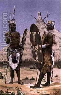 Nyam-nyam warriors by (after) Buchta, Richard - Reproduction Oil Painting