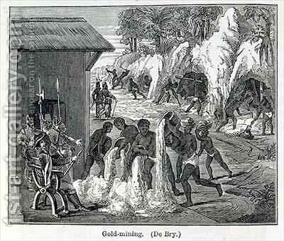 Gold Mining by (after) Bry, Theodore de - Reproduction Oil Painting
