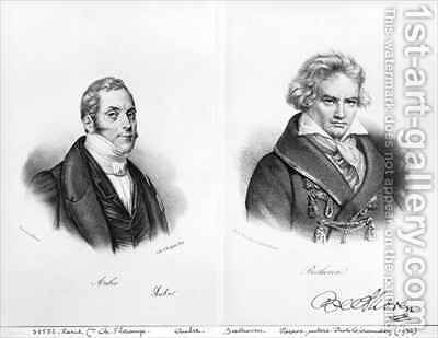 Esprit Auber (1782-1871) and Ludwig van Beethoven by Auguste Bry - Reproduction Oil Painting