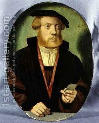 A Portrait of a Young Man Wearing a Fur Lined Cape by Bartholomaeus, the Elder Bruyn - Reproduction Oil Painting