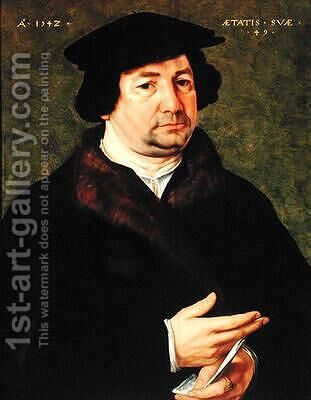 Portrait of a Man Aged 49 by Bartholomaeus, the Elder Bruyn - Reproduction Oil Painting