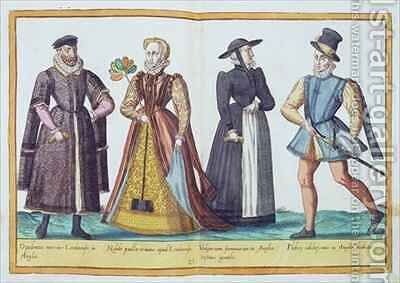 Sixteenth century costumes from 'Omnium Poene Gentium Imagines' 5 by Abraham de Bruyn - Reproduction Oil Painting