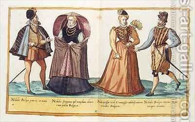 Sixteenth century costumes from 'Omnium Poene Gentium Imagines' 8 by Abraham de Bruyn - Reproduction Oil Painting