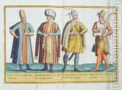 Sixteenth century costumes from 'Omnium Poene Gentium Imagines' 11 by Abraham de Bruyn - Reproduction Oil Painting