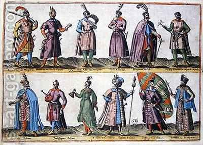 Hungarian and Polish military dress during the Sixteenth century, from 'Costumes of Different Nations of Europe, Asia, Africa and America' by Abraham de Bruyn - Reproduction Oil Painting
