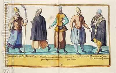 Sixteenth century costumes from 'Omnium Poene Gentium Imagines' 19 by Abraham de Bruyn - Reproduction Oil Painting