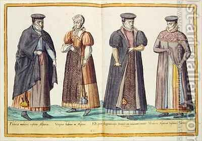 Sixteenth century costumes from 'Omnium Poene Gentium Imagines' 22 by Abraham de Bruyn - Reproduction Oil Painting