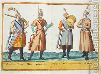 Sixteenth century costumes from 'Omnium Poene Gentium Imagines' 23 by Abraham de Bruyn - Reproduction Oil Painting