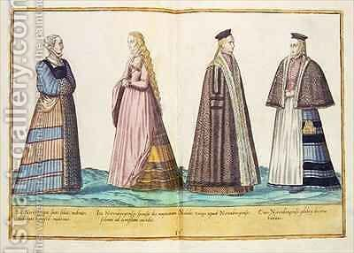 Sixteenth century costumes from 'Omnium Poene Gentium Imagines' 26 by Abraham de Bruyn - Reproduction Oil Painting