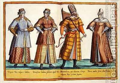 Sixteenth century costumes from 'Omnium Poene Gentium Imagines' 27 by Abraham de Bruyn - Reproduction Oil Painting