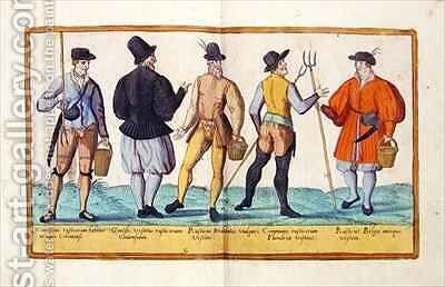 Sixteenth century costumes from 'Omnium Poene Gentium Imagines' 31 by Abraham de Bruyn - Reproduction Oil Painting