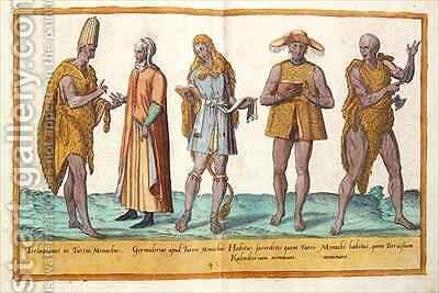 Sixteenth century costumes from 'Omnium Poene Gentium Imagines' 33 by Abraham de Bruyn - Reproduction Oil Painting