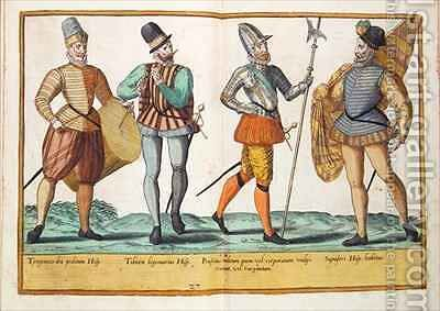 Sixteenth century costumes from 'Omnium Poene Gentium Imagines' 34 by Abraham de Bruyn - Reproduction Oil Painting