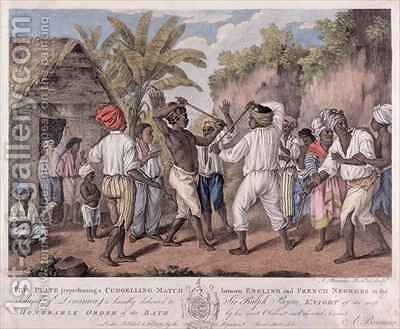 A Cudgelling Match between English and French Negroes on the Island of Dominica by Agostino Brunias - Reproduction Oil Painting