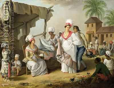 Linen Market, Roseau, Dominica by Agostino Brunias - Reproduction Oil Painting