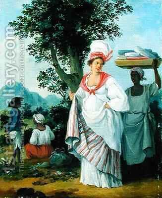 West Indian Creole Woman with her Black Servant by Agostino Brunias - Reproduction Oil Painting