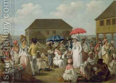 Linen Market, Dominica by Agostino Brunias - Reproduction Oil Painting