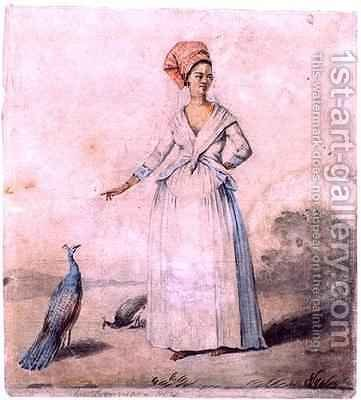 Lady with peacock by Agostino Brunias - Reproduction Oil Painting