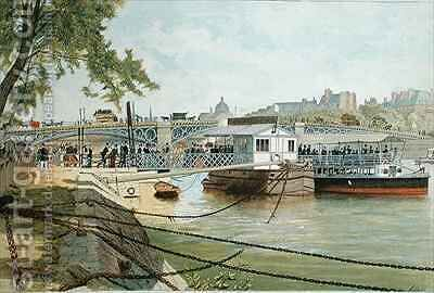 The Ponton at Suresnes, next to the Pont des Saints Peres by Alexandre Brun - Reproduction Oil Painting
