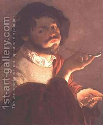 A Bravo Smoking by Hendrick Ter Brugghen - Reproduction Oil Painting