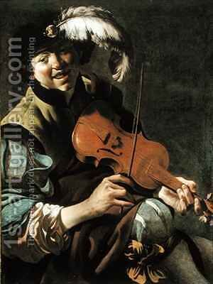 A Boy Violinist by Hendrick Ter Brugghen - Reproduction Oil Painting