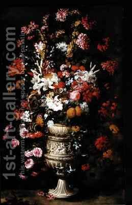 Flowers in a Figured Vase by Jan Peeter Brueghel - Reproduction Oil Painting