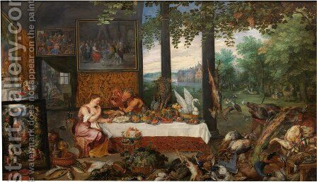 The Sense of Taste by Jan & Rubens, P.P. Brueghel - Reproduction Oil Painting