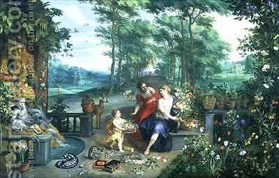 Flora and Nymphs in a Garden by Jan & Balen, Hendrik van Brueghel - Reproduction Oil Painting