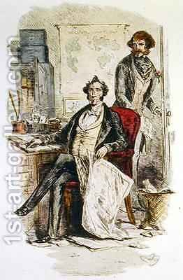 Mr Dombey and James Carker, extra illustration from 'Dombey and Son' by Hablot Knight Browne - Reproduction Oil Painting