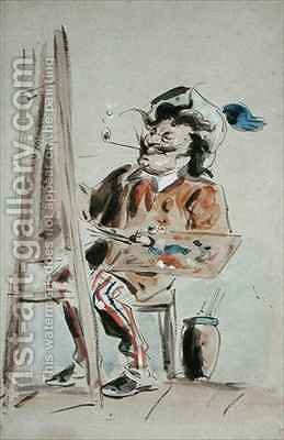 Caricature of an artist by Hablot Knight Browne - Reproduction Oil Painting