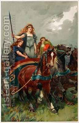 Spear in hand, Boadicea led them to attack by (after) Browne, Gordon Frederick - Reproduction Oil Painting