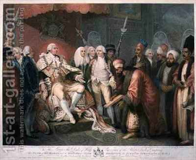 His Majesty and Officers of State Receiving the Turkish Ambassador and Suit by (after) Brown, Mather - Reproduction Oil Painting