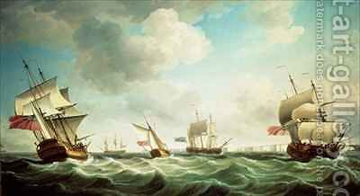 East Indiamen and a smack-rigged Royal Yacht in a breeze off the Downs by Charles Brooking - Reproduction Oil Painting