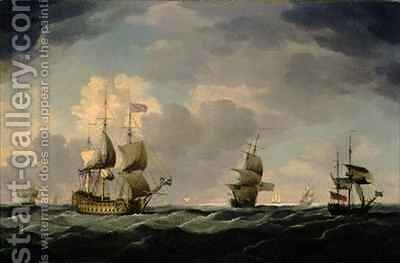 An English Flagship Under Easy Sail in a Moderate Breeze by Charles Brooking - Reproduction Oil Painting
